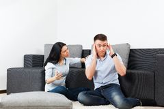 Young couple living room Royalty Free Stock Images