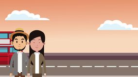 Young couple and travel HD animation. Young couple and london bus passing behind High definition colorful animation scenes stock video footage