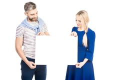 Couple annoncing something royalty free stock photos