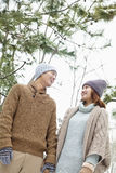 Young couple looking at each other in a park in winter Stock Photography