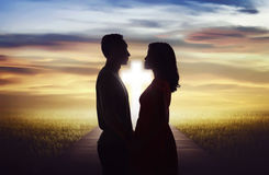 Young couple looking each other. Religious marriage concept Royalty Free Stock Photos