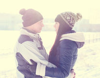 Young couple looking at each other winter Royalty Free Stock Photos