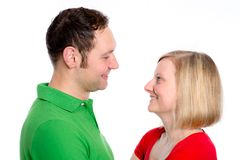 Young couple looking in her eyes Royalty Free Stock Photos