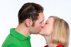Young couple looking kissing Stock Images