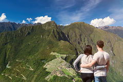 Young couple looking on machu picchu Stock Photography
