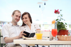 Young couple looking at menu Stock Image