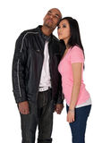 Young couple looking in one direction stock photography