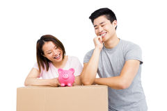 Young couple looking at piggy bank on cardboard box Royalty Free Stock Image