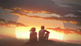 Young couple looking at the sunset. Silhouette of a young couple sitting on a rock looking at the sunset, digital art style, illustration painting stock illustration