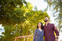 Young couple looking up Stock Images