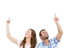 Young couple looking up and smiling Royalty Free Stock Photography