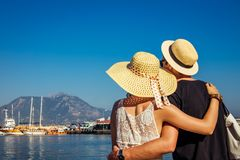 Young Couple Looks At The Alanya Port Stock Images