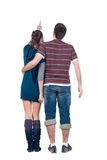 Young couple looks where that. Rear view. Stock Photo