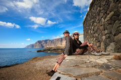 Young couple in Los Gigantes stock photography