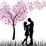 Young Couple in love. Man and woman in love. Valentine day background. Young Couple under the heart tree. Isolated on white royalty free illustration