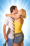 Young couple in love. Isolated on abstract background Stock Images