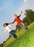 Young couple in love. Outdoors Stock Photo