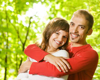 Young couple in love. Outdoors. Close-up portrait Royalty Free Stock Images