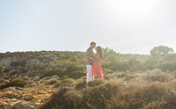 Young couple in love, Attractive man and woman enjoying romantic evening outdoors Royalty Free Stock Photos