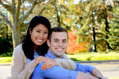 Young couple in love in an autumn setting Stock Images