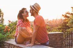 Young couple in love on the balcony Royalty Free Stock Images