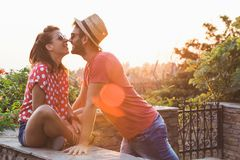 Young couple in love on the balcony Stock Photography