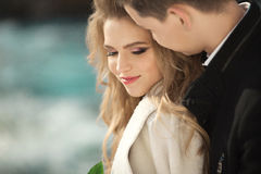 Young couple in love. Beautiful young couple in love outdoors in spring Stock Photography