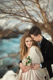 Young couple in love. Beautiful young couple in love outdoors in spring Royalty Free Stock Photography