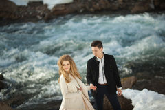 Young couple in love. Beautiful young couple in love outdoors in spring Royalty Free Stock Photo