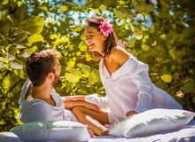 Young couple in love. Beauty in nature. royalty free stock photography