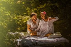 Young couple in love. Beauty in nature. stock images
