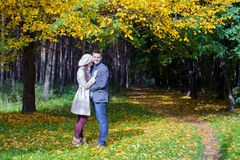 Young couple in love on the big autumn meadow Stock Images