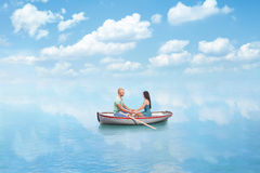 Young couple in Love on boat Royalty Free Stock Photo