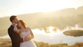 Young couple in love bride and groom on the stock video footage