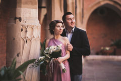 Young couple in love bride and groom posing near area with white columns on the background. Krakow Stock Images