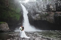 Young couple in love bride and groom, wedding day near a mountain waterfall. royalty free stock photos