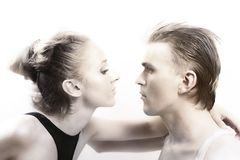 Young couple in love with the brilliant makeup Royalty Free Stock Images