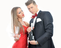 Young couple in love  celebrating with champagne Royalty Free Stock Photo