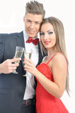 Young couple in love  celebrating with champagne Stock Photo