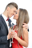 Young couple in love  celebrating with champagne Stock Photography