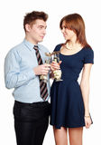 Young Couple in love, celebrating a date Royalty Free Stock Image
