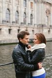 Young couple in love in the city royalty free stock images