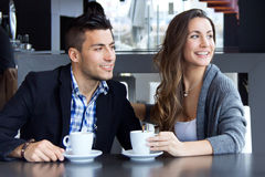 Young couple in love at a coffee shop Stock Image