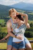 Young couple in love. At countryside summer landscape stock photo