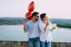 Young couple in love dating and smiling outdoor Royalty Free Stock Photos