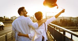 Young couple in love dating and smiling outdoor. On valentine day Stock Images