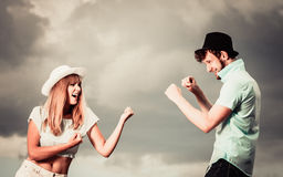 Young couple in love fighting outdoor Stock Image