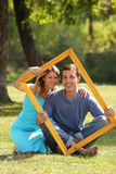 Couple in love in the frame Royalty Free Stock Photo