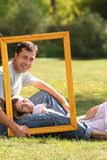 Couple in love in the frame Stock Images