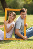 Couple in love in the frame Stock Photo